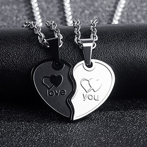 2020 couple heart-shaped necklace stainless steel text pendent necklace for women link chains punk trendy men Accessory gift