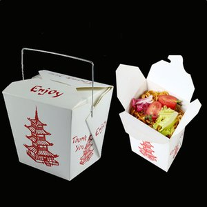 Disposable Paper Box Red Tower Printed Fruit Salad Packaged Folding Box Food Grade Paper With Lid Conjoined Buckle Candy Gift Box 16OZ