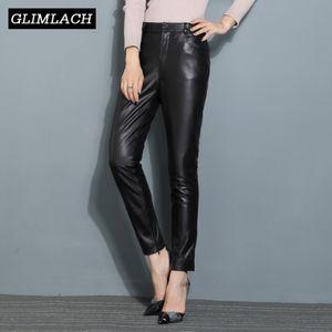 Женские брюки CAPRIS 2021 PLUS Размер реальной кожи карандашом офис леди высокая талия Slim 100% подлинной овец брюки женщин во всю длину