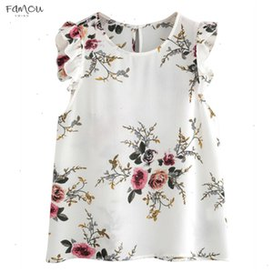 Floral Print Blouse Summer Womens Butterfly Sleeve Shirt Chiffon Crop Tops 100% Cotton Sleeveless Color Coat Women Tops And Blouses