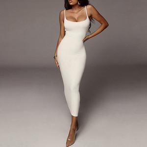 2020 Kadın Yaz Elbise Askı Kadın Elbise Kolsuz Plaj Elbise Katı Renk BODYCON Tüp Seksi Elbise Kadın Üst Moda