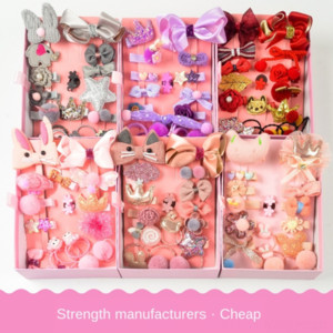 Children's pin girl's cartoon bow cute band 18-piece headwear Princess Crown not hurt hair rope Butterfly hair rope