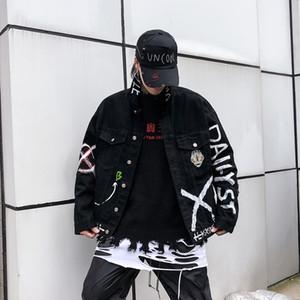 E · baihui Harajuku complète originale Imprimer Lettre Jeans Veste Homme Jaqueta Masculino Denim Jacket Veste Hombre Bomber Jacket
