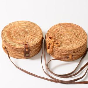 Rodada Bolsa de palha bolsas de luxo Designer praia do verão sacos tecidos Handmade bowknot Couro Shoulder Mulheres Crossbody Handbag Boho