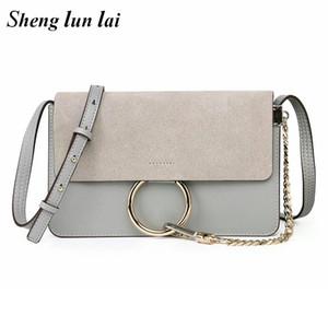 حقائب شنغ لاي منطقية Cloe حلقة حلقة سلسلة الكتف الأزياء حقيبة صغيرة رفرف حقيبة جلد النساء رسول CROSSBODY للنساء