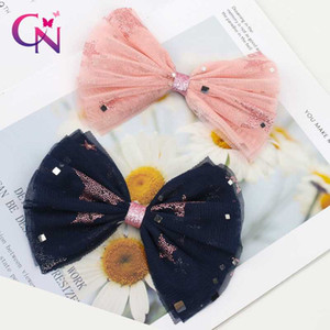 CN 6 Pcs lots Princess Lace Hair Clips For Girls Kids Sequin Star Knot Organza Hair Bows Glitter Hairpins Accessories