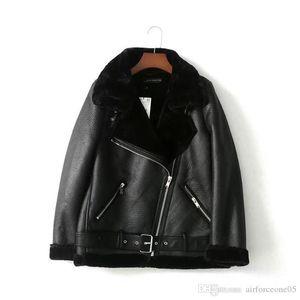 Ceket Tasarımcı Ceket Palto Lüks Kadınlar Jackt Eğik Fermuar Faxu Kürk Liner Coat Bayan PU Deri