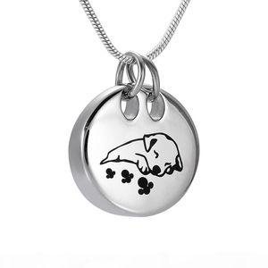 DJX9941 Sleeping collana di forma rotonda Dog cremazione in acciaio inossidabile per animali domestici Memorial Urn sospensione Funeral gioielli ricordo per Ashes