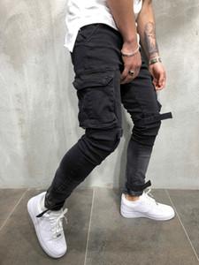 Marka Tasarımcı Moda Erkekler Kargo Cepler Biker Jean Denim Ince Supper Sıska Hip Hop Kot Erkek Kargo Pantolon