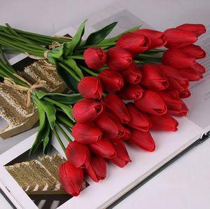 Schönheit Real Touch Blumen Latex Tulpen Blume Künstlicher Blumenstrauß Gefälschte Blumen Brautstrauß schmücken Blumen für die Hochzeit GB156