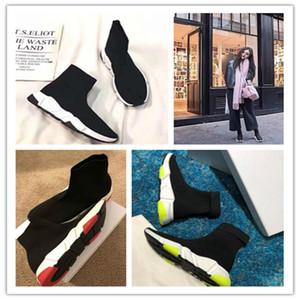 Balenciaga Sock shoes Luxury Brand de moda negro blanco rojo brillo verde rosa Piso para hombre Zapatillas de deporte Runner calzado informal tamaño 36-45