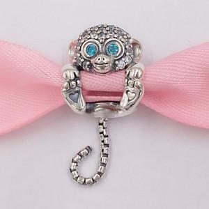 Authentische 925 Sterling Silber Perlen funkelnde Affe Charm Charms Passt Europäische Pandora Style Schmuck Armbänder Halskette 798054CZ
