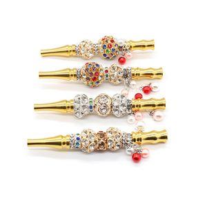 Crânio animal destacável Handmade Hookah Cabeça de Ouro Boquilha Pendant Shisha Árabes filtro em forma incrustada de jóias de diamante cachimbo Boca