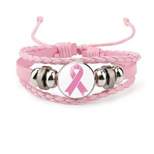 Nuovo braccialetto Breast Cancer Awareness Per il fascino delle donne del nastro Fede Speranza Amore intrecciato corda di cuoio avvolgere gioielli braccialetto di modo