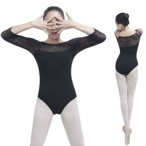 Adult Women Ballet Dance Dancewear Gymnastics Leotard Mesh Lace Tutu Costume sexy Long Sleeve Bodysuit Cotton Spandex Leotard