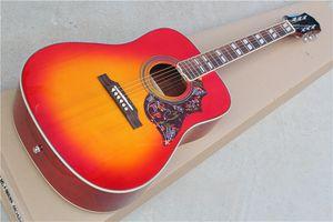 Cerise Sunburst 41 pouces Folk Guitare acoustique avec Touche palissandre, Fleur pickguard, 20 frets, offre personnalisée