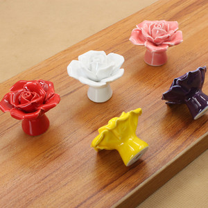 Rose Flower Door Knobs Floral Ceramic Pull Handle Knob Home Cupboard Drawer Knobs