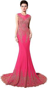 Bordados Lace Mermaid Evening Formal Feminina Sarahbridal em Long Prom Vestidos da