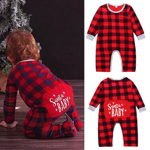 Nouveau-né Baby Girl Rompers Lettre Plaid Letter Imprimé Christmas Christmas Baby Infant Girl Casual Vêtements Garçon Jumpsuits 3M-2T 07