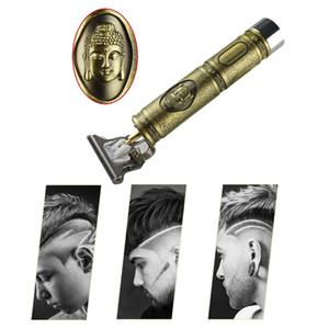 Primer corte de pelo Trimmer digital eléctrico recargable de las podadoras de pelo de oro barbería Inalámbrico 0 mm de lámina en T calvo Outliner Hombres