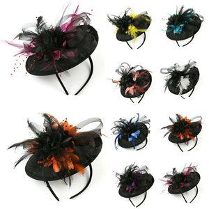 Fashion Party Fascinator Headband dois tons flor pena meshClip Chapéus Casamentos Vestidos Cabelo Headwear Acessórios