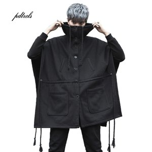 Guo Chao-Tang 2019 Invierno Caliente inconformista Hip-hop color sólido flojo con capucha gruesa capa sin mangas de envío Streetwear Abrigo gota