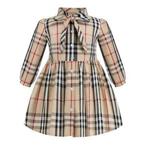 격자 무늬 드레스 2020 새로운 도착 가을 여자 아카데미 바람이 긴 고품질면 아기 아이들이 격자 무늬 드레스를 나비 넥타이 슬리브