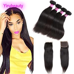 Бразильский Девы волос 4 Связки С 4X4 Lace Closure 5 шт / много Straight человеческих волос утки волос с Closure Natural Color