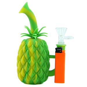 Pineapple Dab plate-forme plate-forme en verre de tuyau d'eau de silicone bong avec bol en verre narguilé portable verre incassable à l'intérieur de silicone extérieur bong