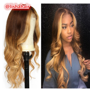 4 27 highlights hair color wavy Lace Front Wigs For Balck Women Virgin Brazilianpink colored Hair Glueless Full Lace Wig