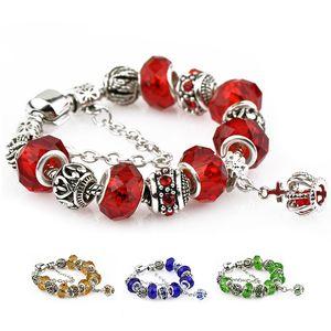 Pan Dora Designs Crown Charm Bracelets-Rosa-Blau-Goldfarben-Weinlese-Antike-Silber-DIY Art und Weise Kristall-Perlen Schmuck-Armbänder für Frauen Mädchen
