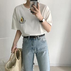 Stickerei der neuen Art-Sommer-nettes Avocado Stickerei-Kurzschluss-Hülsen-T-Shirt der Frauen kleine frische beiläufige Tees Tops weibliche losen T-Shirt Trend
