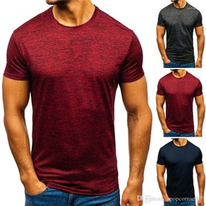 Dry Tshirt Large Size Solid Color Round Neck Short Sleeve T-shirt Teenager Male Tee Casual Sports Quick