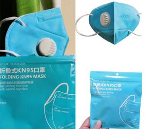24H DHL NAVE Mascherina Con valvola pieghevole filtro antipolvere influenzanti Anti PM2.5 trasporto libero con pacchetto singolo