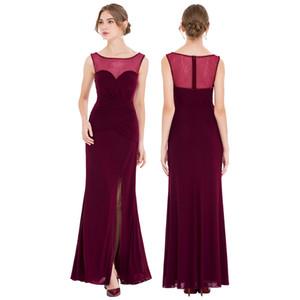 Angel-fashions Women Evening Dresses Pleated Beading Slit Peplum Jewel See Through Long Mermaid Formal Party Dress Wine Red 433