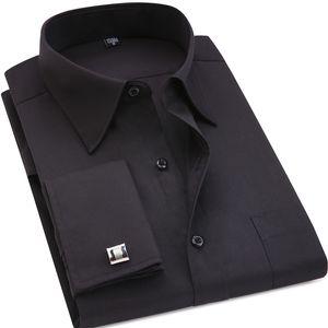 Mens Dress Shirt Classic Black Französisch Manschettenknöpfe Mens-Geschäfts-Kleid Langarm-Shirt Revers Männer Social Hemd Asiatische Größe 4XL 5XL 6XL