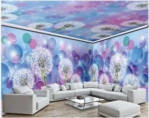 WDBH 3d chambre papier peint photo personnalisée pissenlit beau cercle de rêve Toute la maison mur 3d peintures murales de papier peint pour les murs 3 d