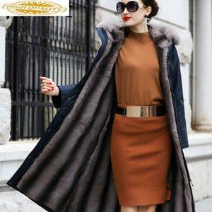 Real Fur Coat Women Rex Fur Coat Collar Hooded Winter Women Warm Parka Manteau Femme TZ-18801 YY1570