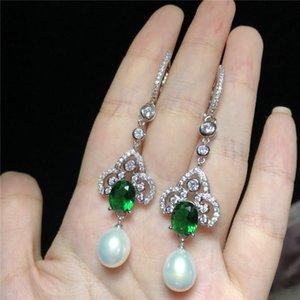 bianco naturale orecchini di perle d'acqua dolce micro intarsio zircone Accessoriese atmosfera high-end opzioni a due colori
