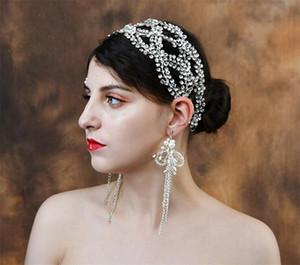 Lüks Kristal Gelin Saç Vine Kafa Rhinestone Takı Düğün Kadınlar Taç Tiara Saç Aksesuarları Zincir Süs Headdress Balo Takı