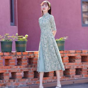 Kleid 2020 neuer Frühling und Sommer verbesserte cheongsam Kleid lange cheongsam Thema Kostüm Ethnische Kleidung elegant Temperament nationalen Stil