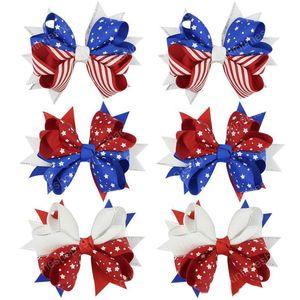 4 de Cabelo Ribbon Bows Meninas Julho clipe acessórios de cabelo 4inch Independence Day American National Flag Barrettes