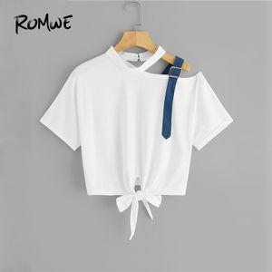 Romwe Asymétrique Cou Noeud Ourlet Crop Tee 2019 Fabuleux Blanc D'été À Manches Courtes Femmes T-shirt Posh Femme Découpé Tops Y19060601