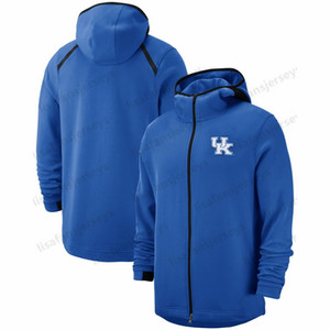 Kentucky Wildcats Tişörtü 2018-2019 On-Court Basketbol Oyuncu Showtime Performans Tam Zip Hoodie Donanma Erkek NCAA Spor Hoodies