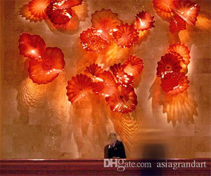 Hotel Lobby Decor Blown Glass Wall Plates Art Flower Murano Glass Wall Art for Wall Decoration