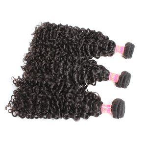 Bella Hair® 3pcs / lot Kıvırcık Dalga örgüleri% 100 Malezyalı Saç İşlenmemiş Bakire Doğal Renk İnsan Saç atkıları Ücretsiz Kargo