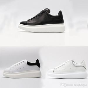 Negro de terciopelo blanco calzados informales de la moda de cuero de lujo de diseño clásico de las mujeres Zapatos de plataforma suave tamaño de los zapatos de piel de vaca hombres marca deportiva 34-45