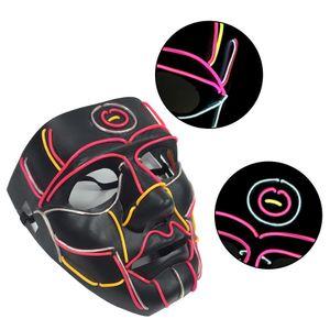 El Eco -Friendly Ball Mask El Luminous Line Mask Halloween Carnival Horror Led Máscara luminosa Dance Party Prop