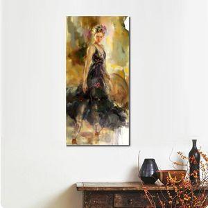 A mano olio pittura colorata della ballerina Lady Donna del ritratto di arte moderna per la decorazione camera da letto grande tela