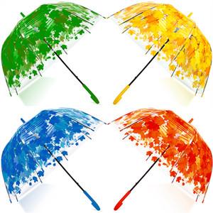 Frau Regenschirm Frische PVC Transparent Pilz Grün-Blatt-Bogen-Regenschirm Kind Stiel Regen Regenschirm Parteibevorzugungs LJJA3245-2